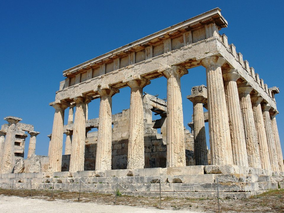 the imposing temple of the Aphaia