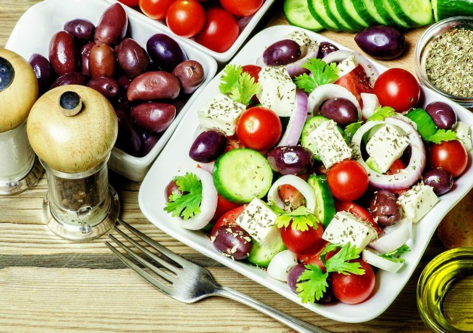 Traditional, Greek, cuisine, Olive, Salad, Oil