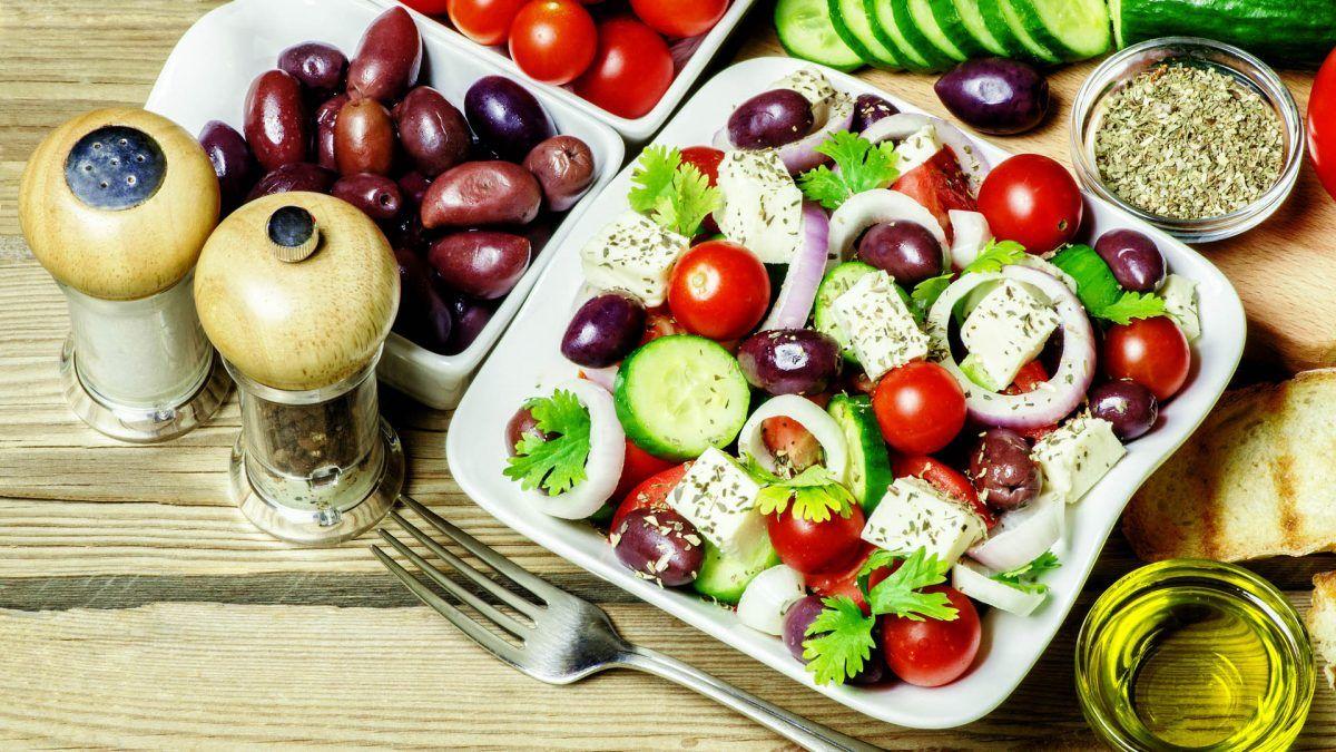 Traditional, Greek, cuisine, Olive, Salad, Oil