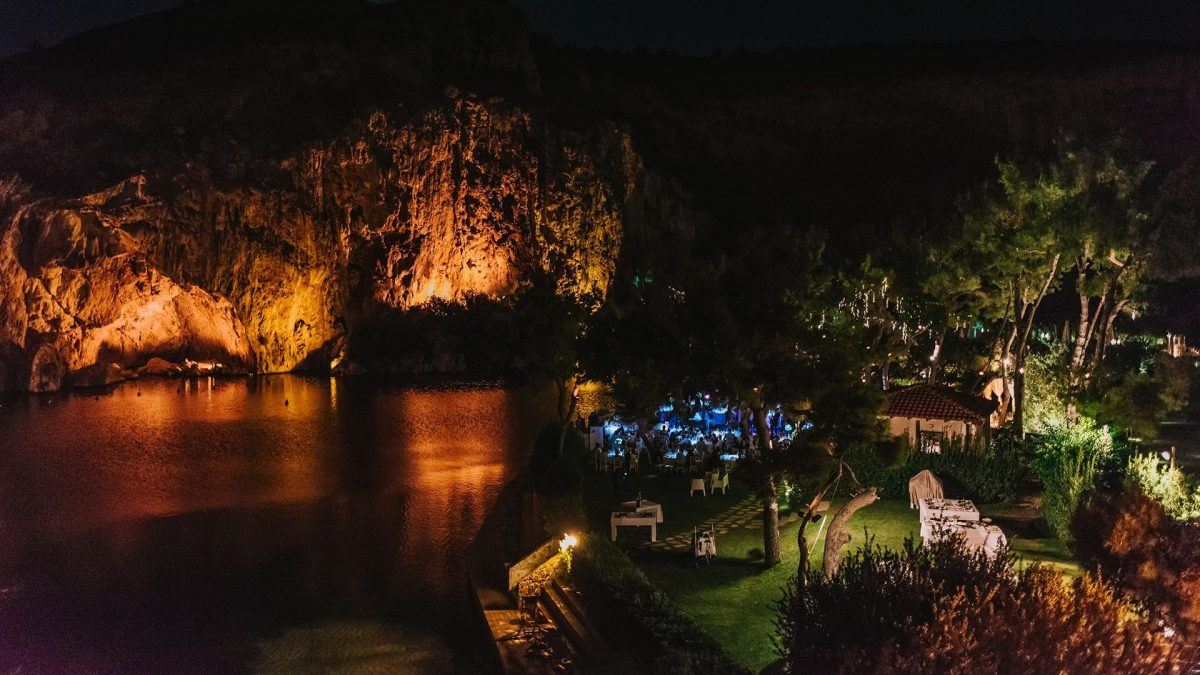 lake, night, lights, restaurant, rocks, Vouliagmeni