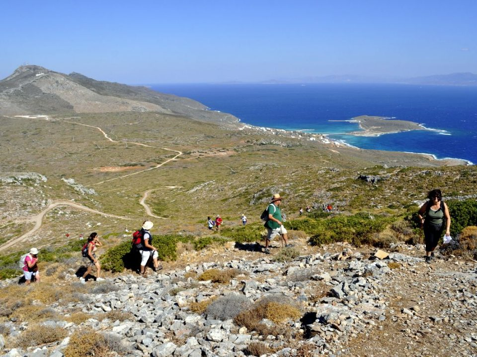 walkers, mountain, sea, rocks, Kythira, Avlemonas
