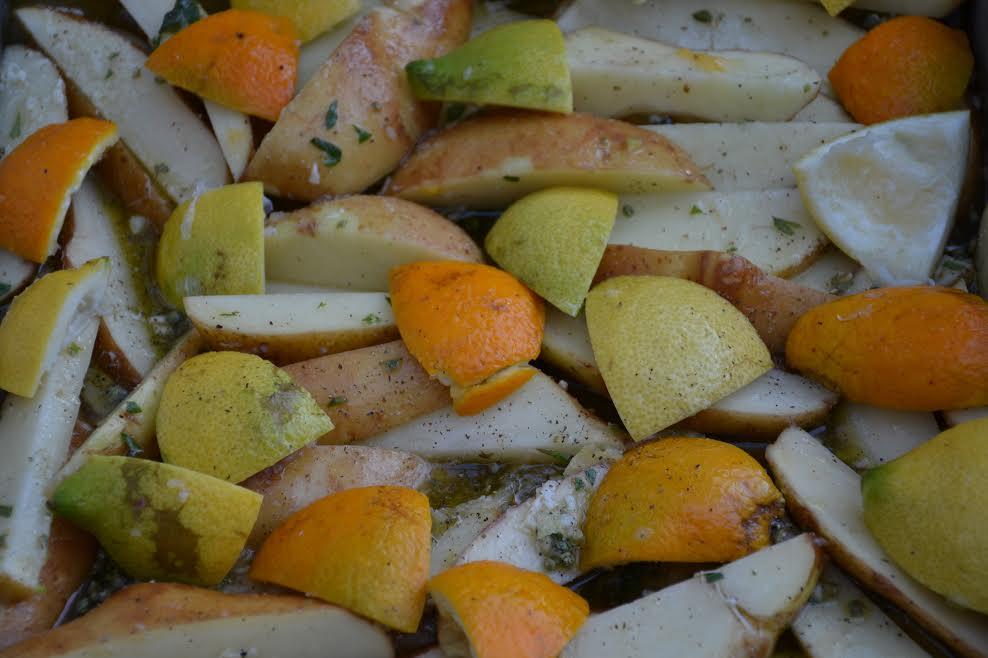 Potatoes lemons oranges gastronomy