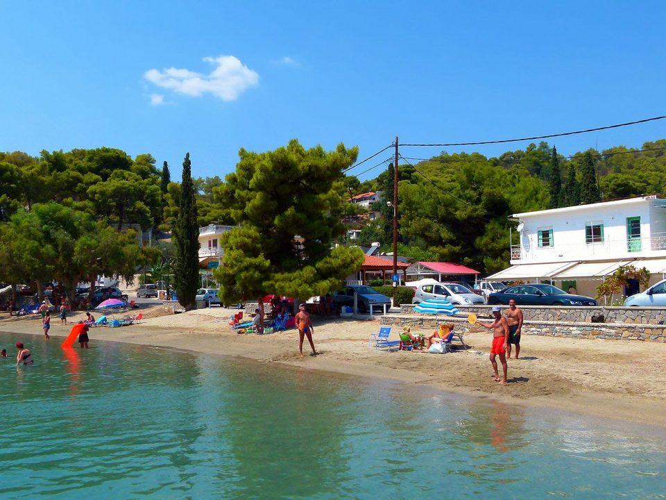 beach, sea, nature, vacationers, Poros, Neorio