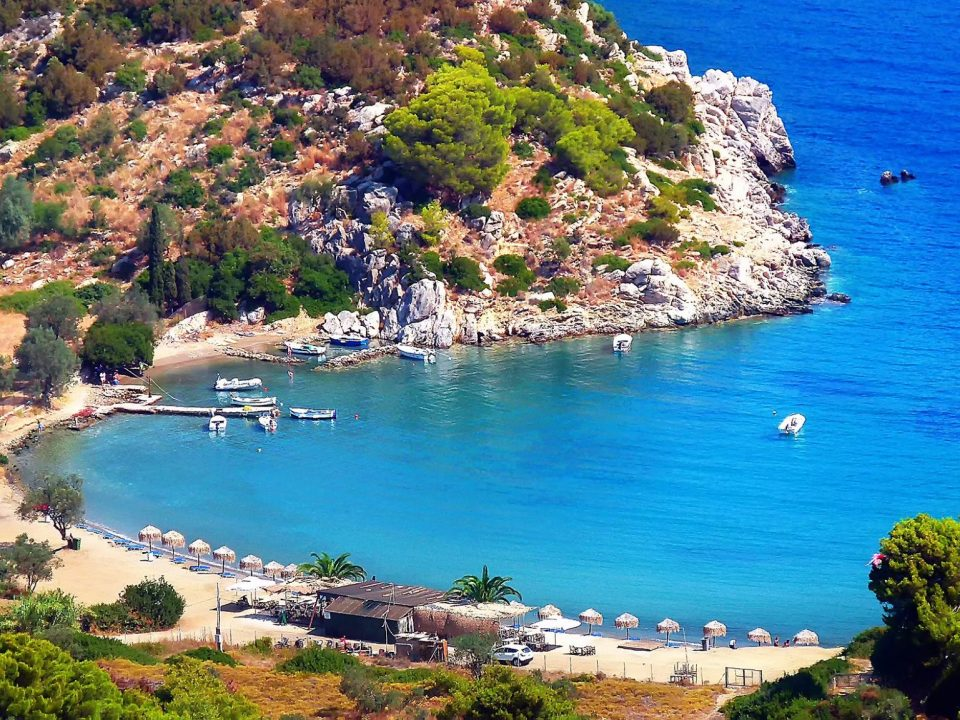 beach, sea, nature, vacationers, Poros, Vagonia